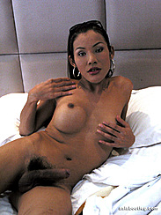 Lying Naked On White Covers Feeling Breast Asian Shemale Cock Stiff