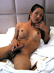 Asian Shemale Porn Gently Stroking Erect Dick