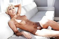 Naked on couch erect cock