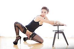 Kneeling On Floor Wearing Stockings High Heels Erect Cock